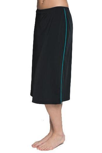 Corredora Classic Long Water Skirt with Piping Accents/ Hidden Long Swim Shorts