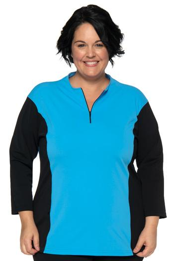 Multi Exercise Plus Size Zippered Swim Top - Chlorine Proof