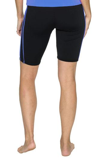 Knee Length Swim Shorts with Accent Piping - Chlorine Proof