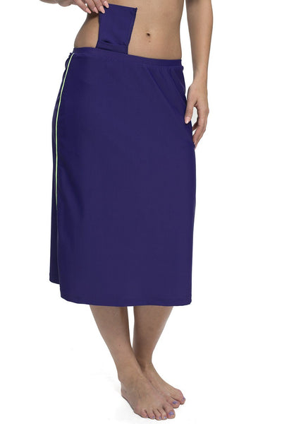 "Corredora Classic Long Water Skirt with Piping Accents/ Hidden Long Swim Shorts (25"" long)"
