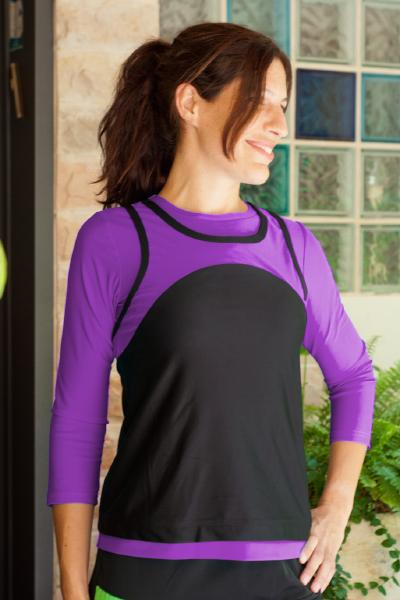 Sporty Mock Tank Top - Active wear for Swim n Sport 3/4 Sleeves