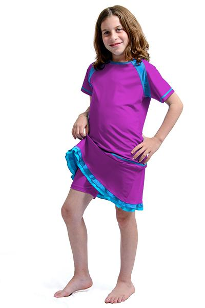 Girl's Short Sleeve Swim Top and Girl's Ruffle Swim Skirt