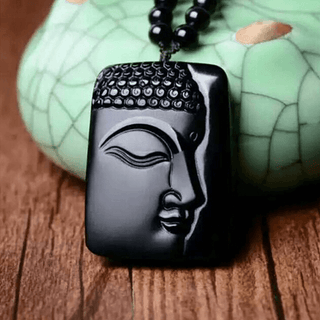 High Quality Natural Black Obsidian Peaceful Buddha Necklace