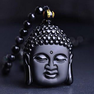 High Quality Natural Black Obsidian Buddha Head Necklace