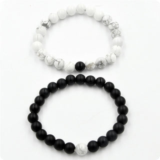 Black White Couple Distance Bracelet