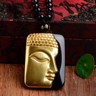 High Quality Gold & Natural Black Obsidian Carved Buddha