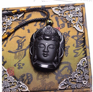 High Quality Natural Black Obsidian Buddha Love Necklace