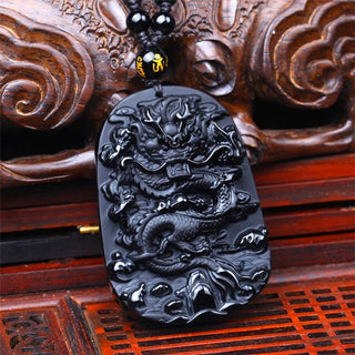 High Quality Obsidian Carved Dragon Pendant Necklace