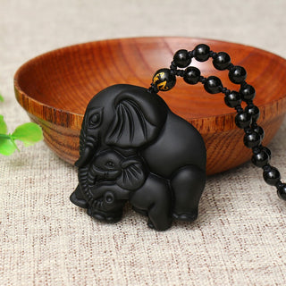 High Quality Natural Black Obsidian Carved Mother Elephant Necklace