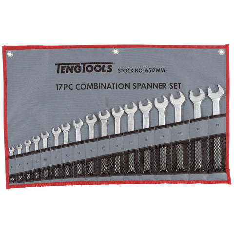 17PC Combination Spanner Set - Tool Roll
