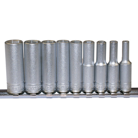 "9PC 1/4"" Drive Deep Socket Set - Rail"