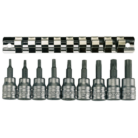 "9PC 3/8"" Drive Clip/Tx Bit Socket Set"