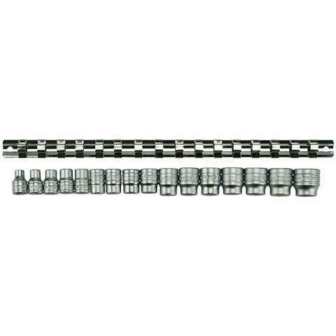 "16PC 3/8"" Drive Rail Socket Set"