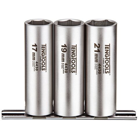3PC 1/2inch Drive Stainless Steel Deep Wheel Nut Sockets