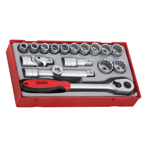 "17PC 1/2"" Drive Socket Set (12 Point)"