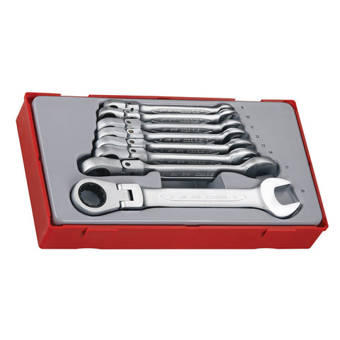 8PC Ratcheting Combination Spanner Set With 180 Degree Flexible Joint