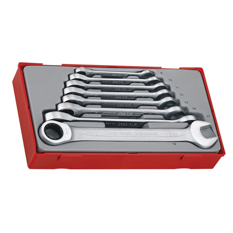 8PC Ratcheting Combination Spanner Set