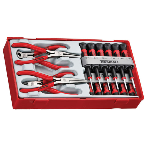 16PC Mini Plier & Screwdriver Tray