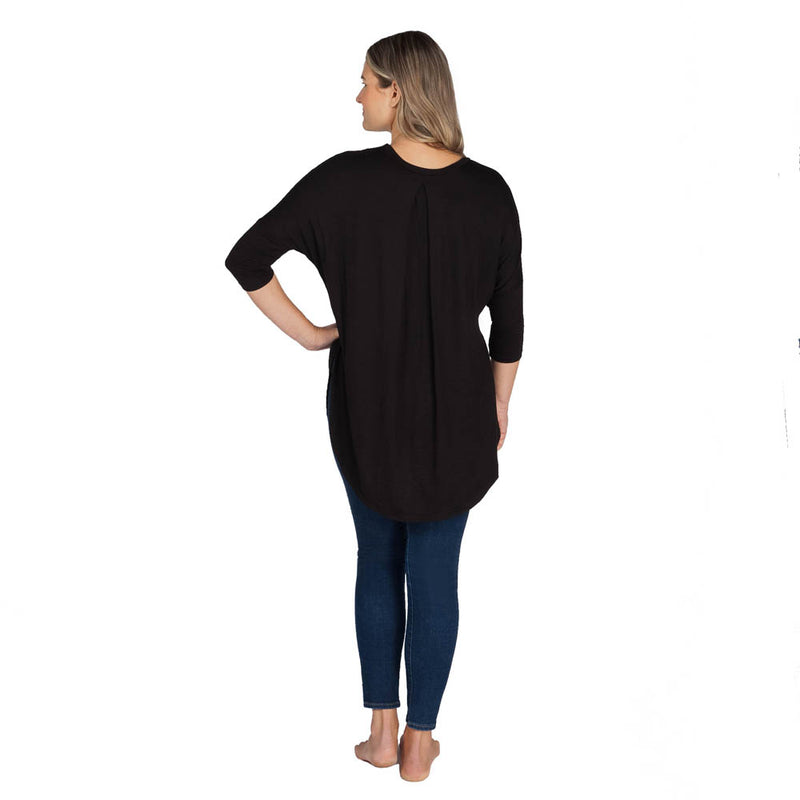 3/4 Sleeve Pleat Back Top