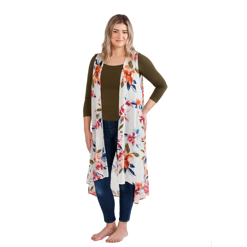 Printed Duster Vest in Floral
