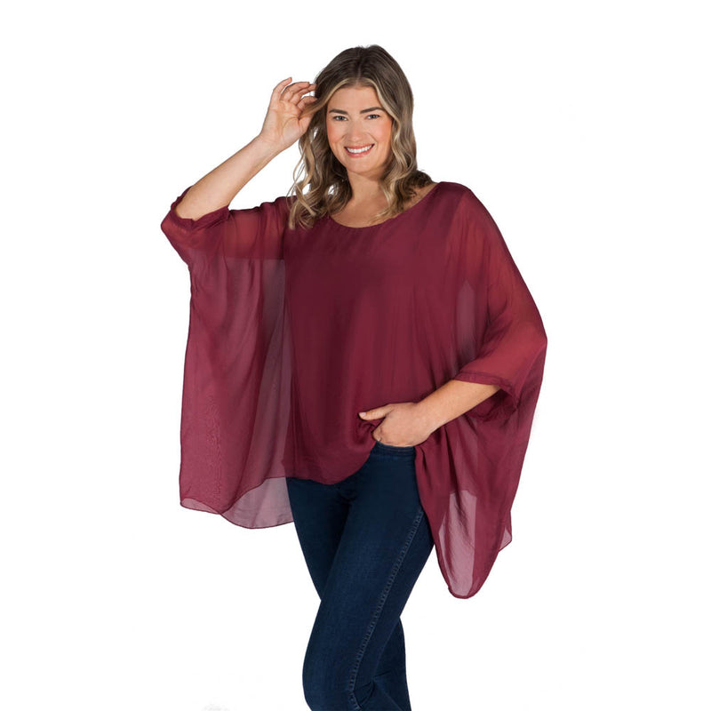 Three Quarter Sleeve Solid Silk Top