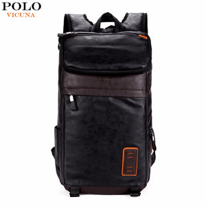 32325cea6b VICUNA POLO Large Volume Casual Men Travel Daypacks Vintage Simple  Patchwork Mens Leather Backpack Bag School