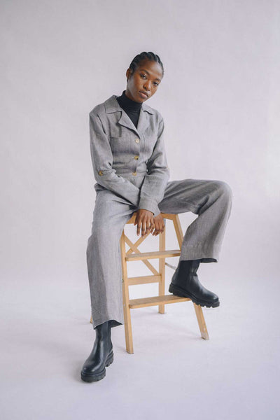 Our Gretl linen jumpsuit in the colour candy