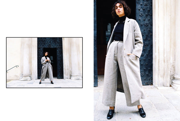 Shaanti in the peppi coat paired with the wabi pants