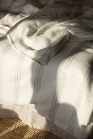 arkitaip Bedding The Striped Casita Linen Duvet Cover in Beige