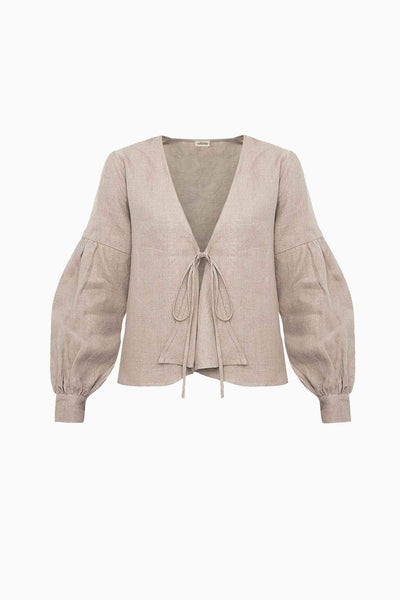 arkitaip Blouses The Anna Linen Blouse in Oatmeal
