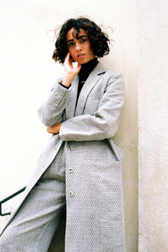 arkitaip Coats The Peppi Linen Coat in Black Argyle