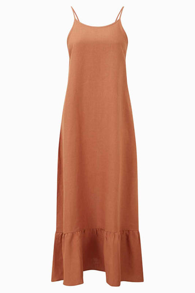 arkitaip Dresses The Gerda Ruffled Slip Dress in Tangerine