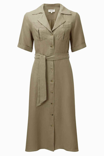 arkitaip Dresses The Hannah Midi Shirt Dress in Taupe