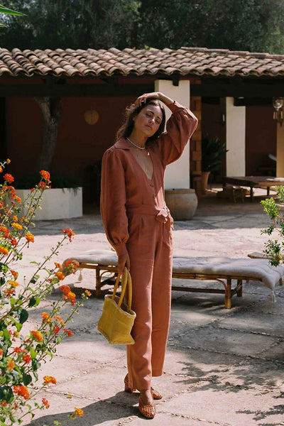 arkitaip Jumpsuits The Bianca Long-Sleeved Jumpsuit in Tangerine