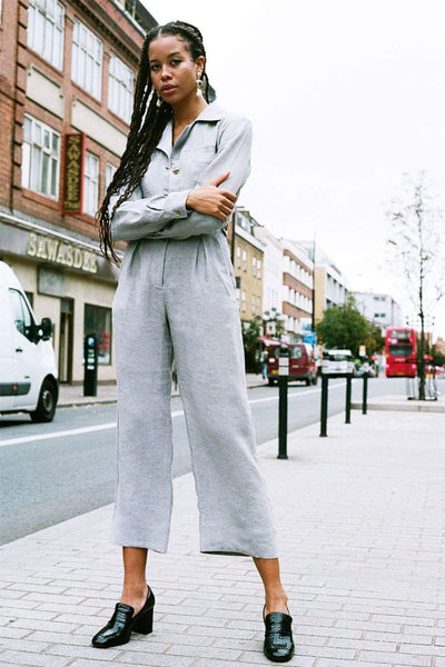 arkitaip Jumpsuits The Serra Linen Boiler Suit in Stone