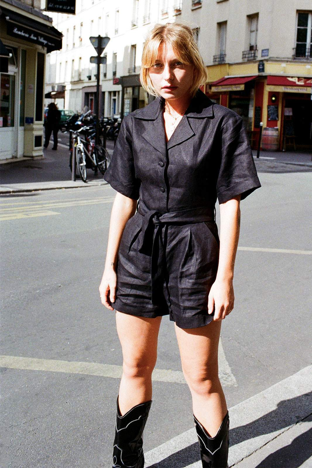 arkitaip Jumpsuits The Zey Short Boiler Suit in Black