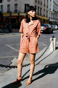 arkitaip Jumpsuits The Zey Short Boiler Suit in Tangerine