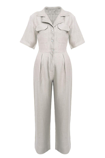 arkitaip Jumpsuits The Zeynep Boiler Suit in Beige Herringbone