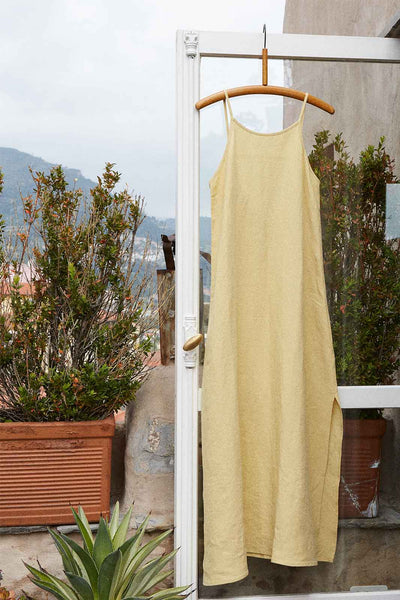 arkitaip Maxi Dresses The Trude Linen Slip Dress in Lemon