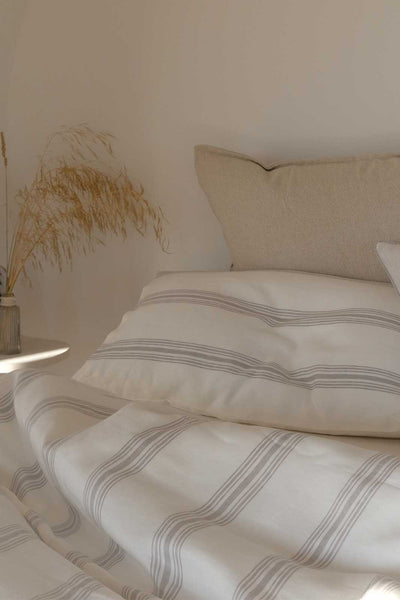 arkitaip Pillowslips The Striped Casita Linen Pillowslips in Beige