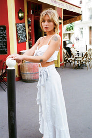 arkitaip Skirts The Catalina Linen Wrap Skirt in Sky Blue
