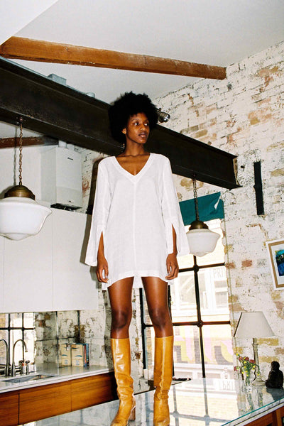 arkitaip Tunics The Olivia Linen Tunic in White