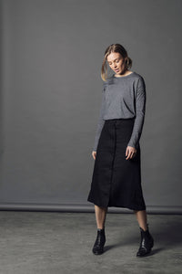 Lavender Linen Skirt - Black