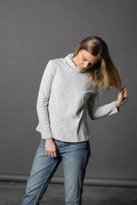 Winter Cherry Skivvy Top - Grey Marle