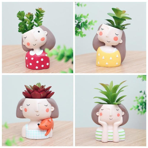 Cute Girl Flower Planter - Ridaaz Home