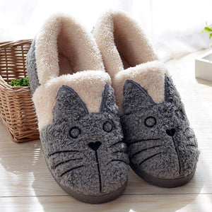 Cute Cat Plush Slippers For Kids & Adults - Ridaaz Home
