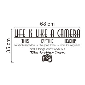 "Inspirational wall decal ""Life is like a camera"" Motivating Quote Vinyl"