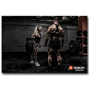 Bodybuilding Motivational Art Silk Poster Fitness Exercise Wall Pictures Gym Room gym life champion beastmode
