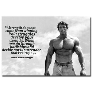 Arnold Schwarzenegger Bodybuilding Motivational Quote Silk Poster  Inspirational Wall Poster Home Decor