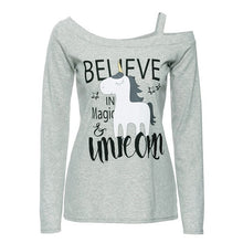 Women Long Sleeve Unicorn Print T Shirt